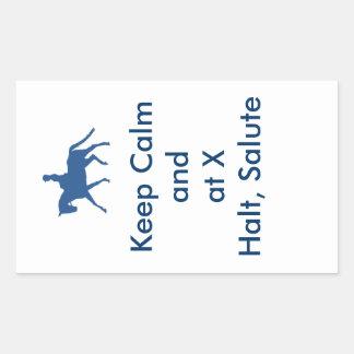 Keep Calm and at X Halt, Salute Rectangular Sticker