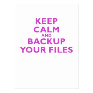 Keep Calm and Backup your Files Postcard