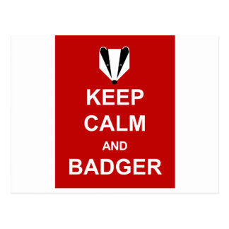 KEEP CALM AND BADGER POSTCARD