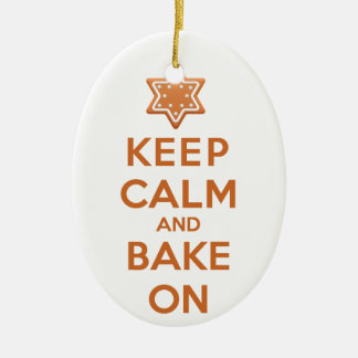 Keep Calm and Bake On Ceramic Oval Decoration