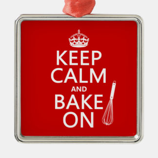 Keep Calm and Bake On (cooking) (customize color) Silver-Colored Square Decoration