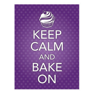 Keep Calm and Bake On Recipe Card Purple