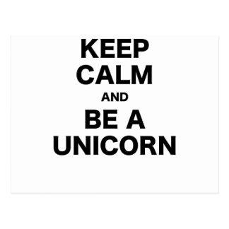 Keep Calm and Be a Unicorn Postcard