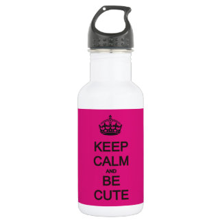 keep calm and be cute neon pink 532 ml water bottle