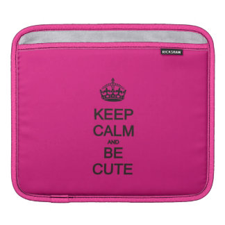 keep calm and be cute neon pink quote iPad sleeve