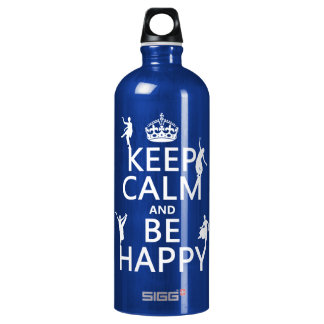 Keep Calm and Be Happy (dance) (customizable) Water Bottle