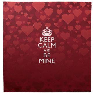 Keep Calm And Be Mine on Hearts Napkin