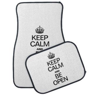 KEEP CALM AND BE OPEN FLOOR MAT