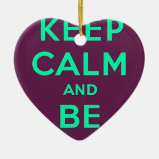 Keep Calm and Be Swag Sunglasses slogan Ceramic Heart Decoration