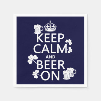 Keep Calm and Beer On (irish) (any color) Disposable Serviette