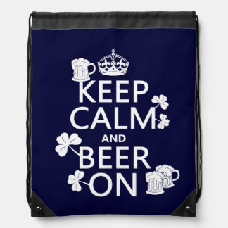Keep Calm and Beer On (irish) (any color) Drawstring Bag