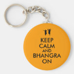 Keep Calm and Bhangra On Dancing Customisable Basic Round Button Key Ring