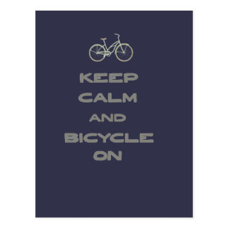 Keep Calm and Bicycle On Postcard
