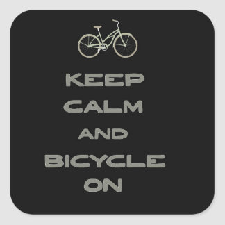 Keep Calm and Bicycle On Square Sticker