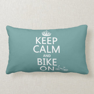 Keep Calm and Bike On (any color) Lumbar Cushion