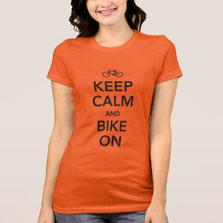 Keep Calm and Bike On, black design T-Shirt