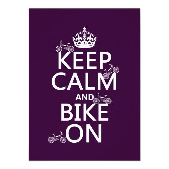 Keep Calm and Bike On (customisable colour) Card