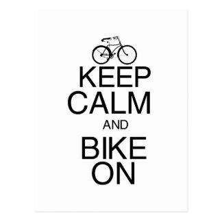 Keep Calm and Bike On Postcards