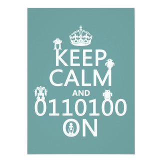 Keep Calm and (Binary) On (robots)(any color) Card