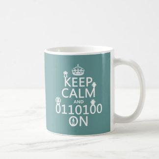Keep Calm and (Binary) On (robots)(any color) Coffee Mug