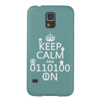 Keep Calm and (Binary) On (robots)(any color) Galaxy S5 Cover