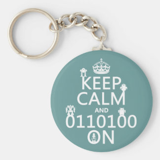 Keep Calm and (Binary) On (robots)(any color) Key Ring