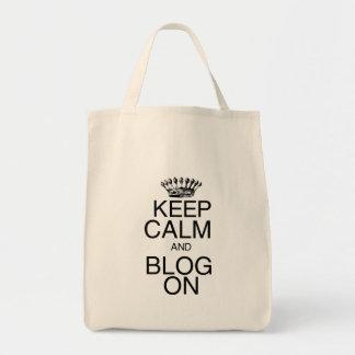Keep Calm and Blog On Grocery Tote Bag