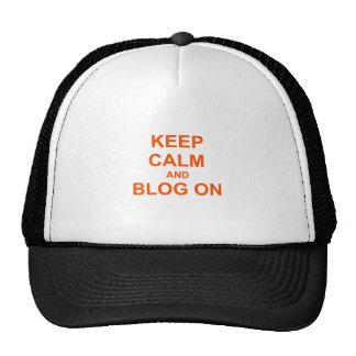 Keep Calm and Blog On orange pink red Cap