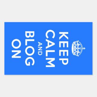 Keep Calm and Blog On Rectangular Sticker