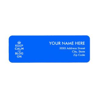 Keep Calm and Blog On Return Address Label