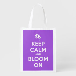 Keep Calm and Bloom On Purple Personalized Tote