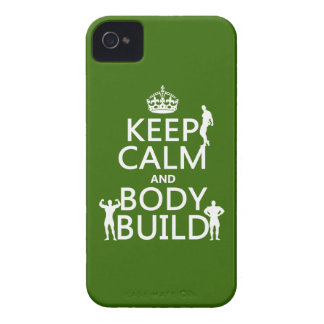 Keep Calm and Body Build (customize background) iPhone 4 Case