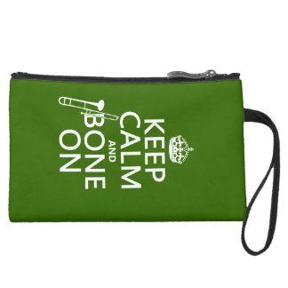 Keep Calm and 'Bone On (trombone - any color) Suede Wristlet