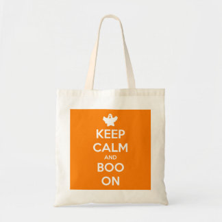 Keep calm and Boo On Orange Reusable Budget Tote Budget Tote Bag
