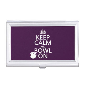 Keep Calm and Bowl On - all colours Business Card Holder