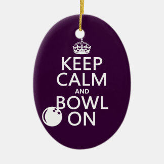Keep Calm and Bowl On - all colours Ceramic Oval Decoration