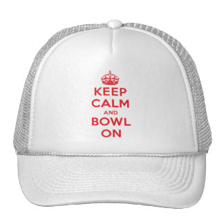 """Keep Calm and Bowl On"" Trucker Hat Hats"