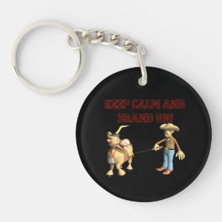 Keep Calm And Brand On Double-Sided Round Acrylic Key Ring