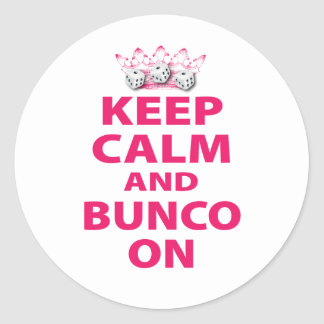 Keep Calm and Bunco On Design Classic Round Sticker