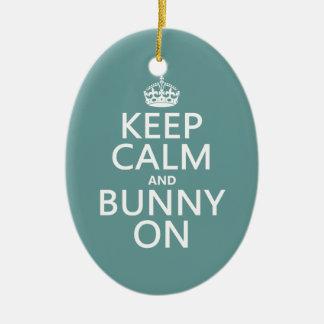 Keep Calm and Bunny On Christmas Ornament