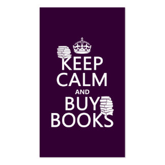Keep Calm and Buy Books (in any color) Pack Of Standard Business Cards