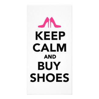 Keep calm and buy shoes custom photo card