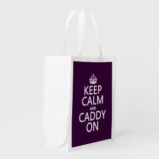 Keep Calm and Caddy On, Golf. Reusable Grocery Bag