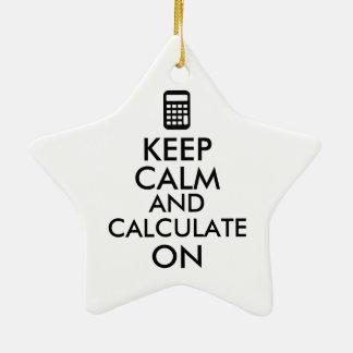 Keep Calm and Calculate On Calculator Custom Ceramic Star Decoration