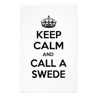 Keep Calm and Call a Swede Customised Stationery