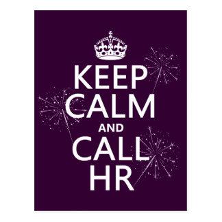 Keep Calm and Call HR (any color) Postcard