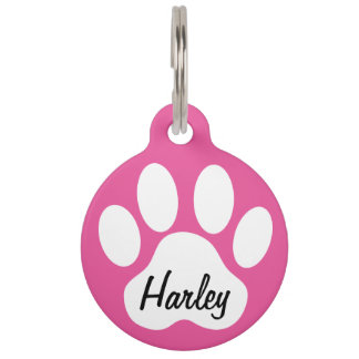 Keep Calm and Call Mom Paw Print Custom Dogs Name Pet Tags