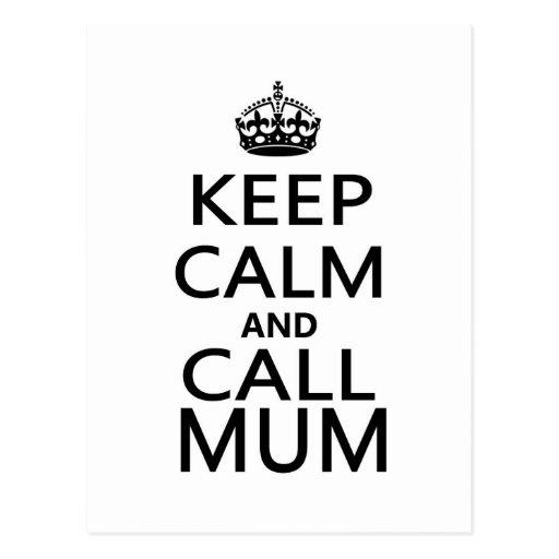 Keep Calm and Call Mum Postcard