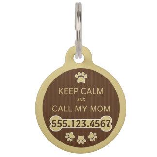 Keep Calm and Call My Mom Round Large ID Dog Tag