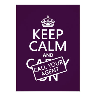 Keep Calm and Call Your Agent (any color) 14 Cm X 19 Cm Invitation Card